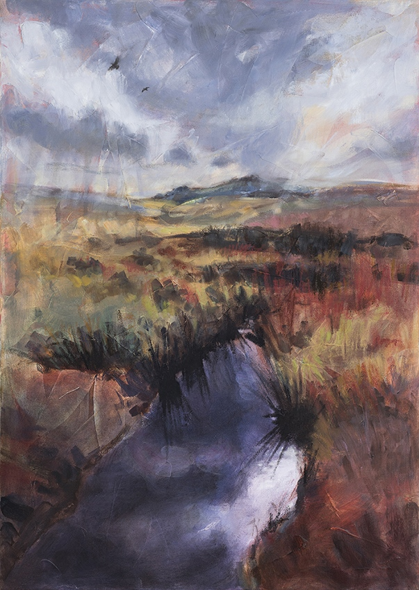 Across to Hart Tor, Oil and mixed media on canvas, 78 cm x 57 cm, framed, SOLD