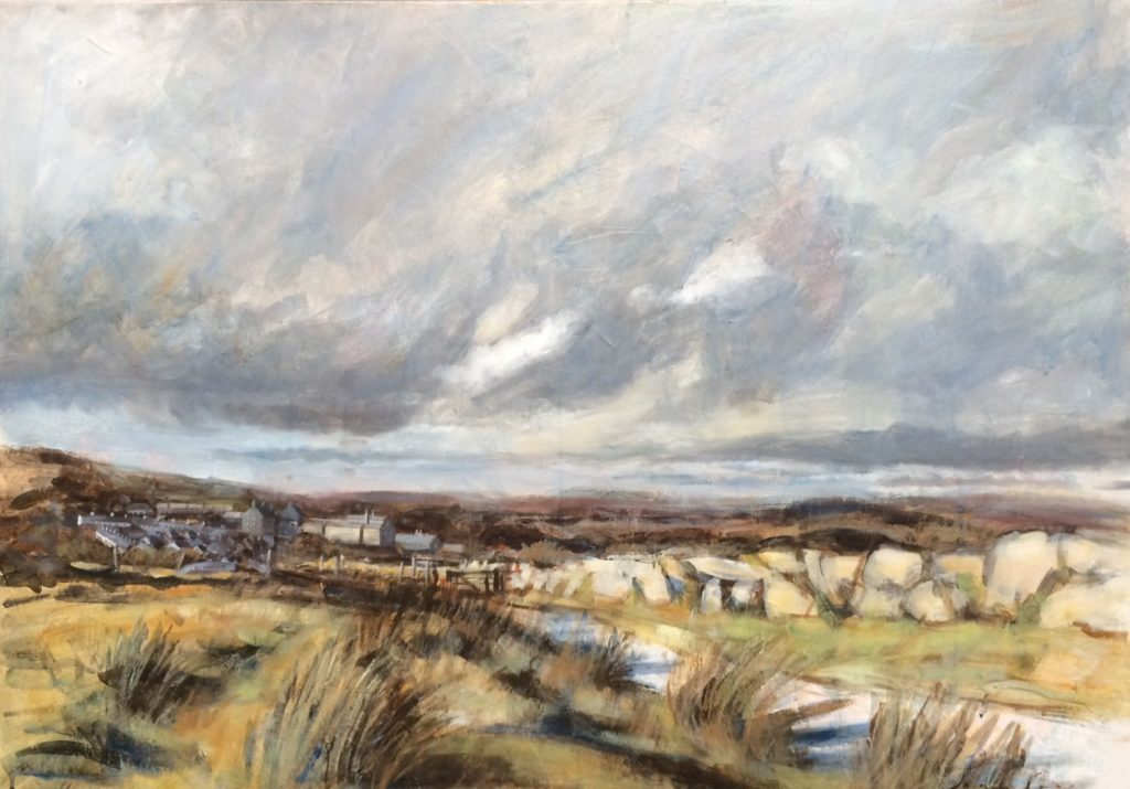 'Across to Princetown, Dartmoor',oil and mixed media on canvas, 100 cm x 70 cm, framed £925