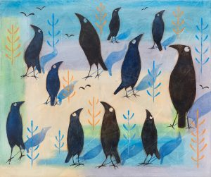 Crow watch - Oil and acrylic on canvas, 68 cm x 58 cm, framed, SOLD