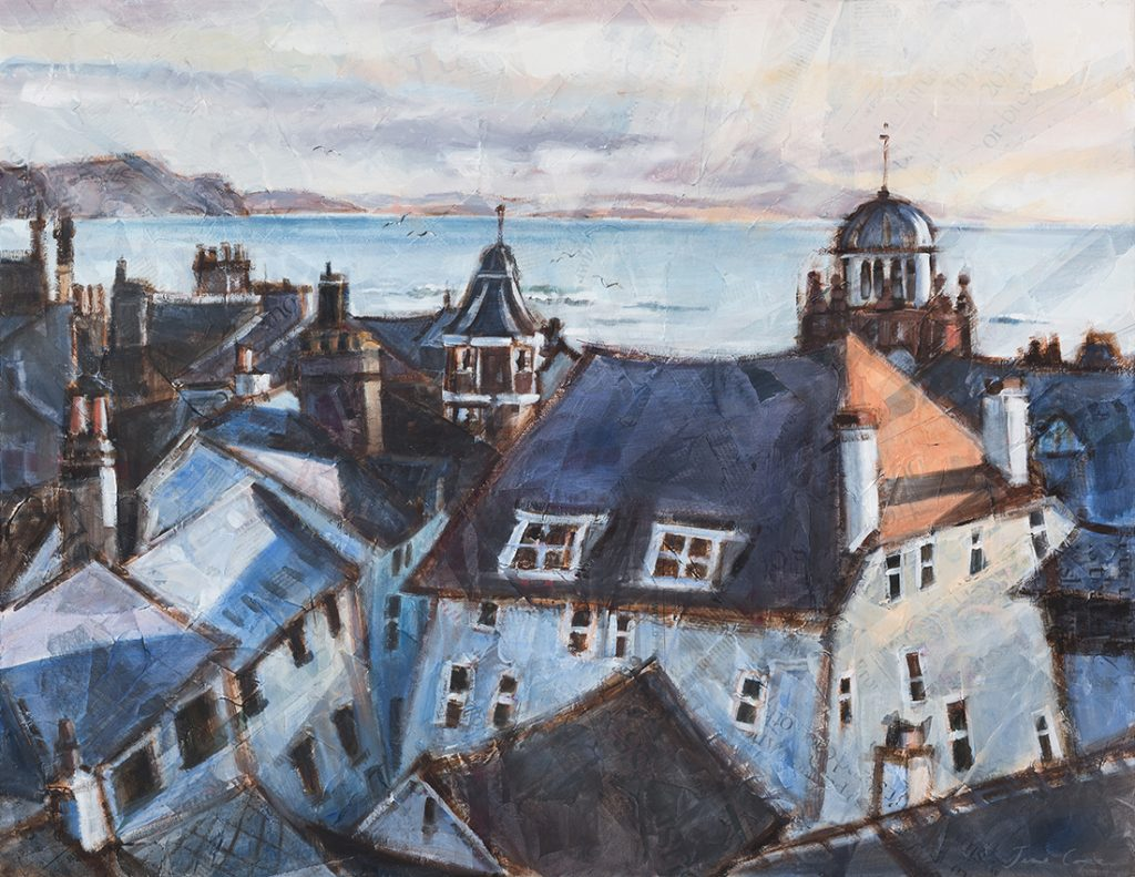 Roofs of Lyme Regis - Oil and mixed media on canvas, 99 cm x 78 cm, framed, SOLD