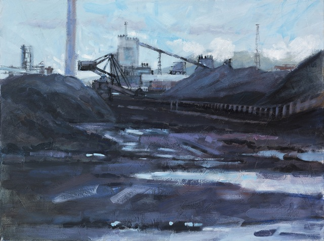 'Tata Steelworks 2, Port Talbot', oil and mixed media on canvas, 80 cm x 60 cm, framed, £450