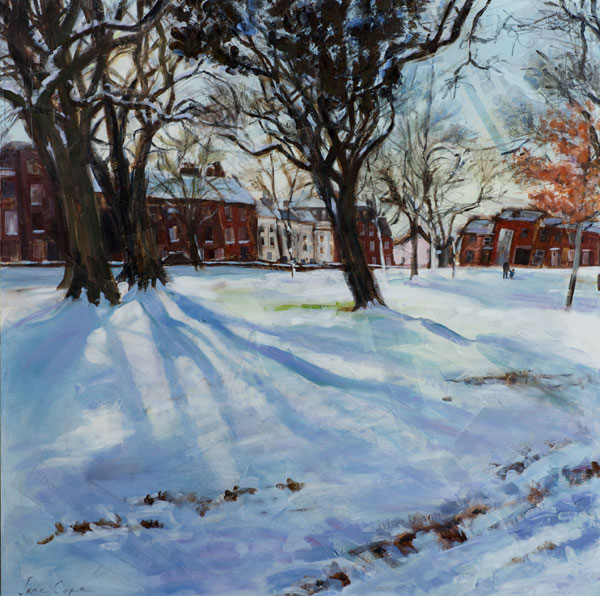 Bartholomew St West, Exeter 1', oil and mixed media on canvas, 75 x 75cm - SOLD
