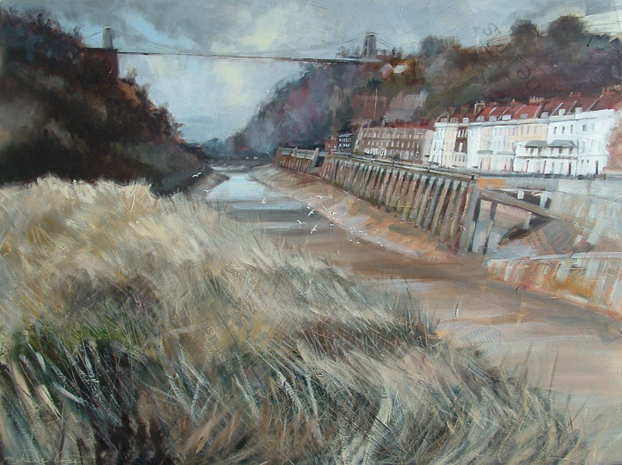 'Clifton Bridge, Bristol', oil and mixed media on canvas, 100 x 76cm, deep edged canvas - SOLD
