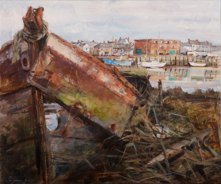 'Carlsberg Quay, Topsham', oil and mixed media on canvas, 60 x 50 cm, framed - SOLD