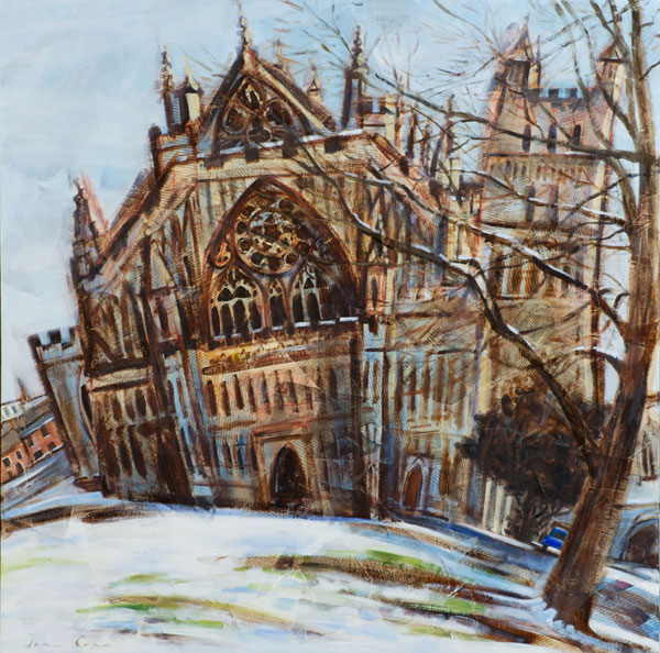 'Exeter Cathedral', oil and mixed media on canvas, 90 x 90cm, SOLD