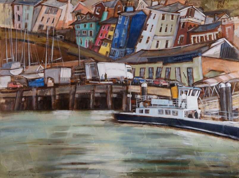 'Dartmouth ferry', oil and mixed media on canvas, 100 x 76cm, framed, £750