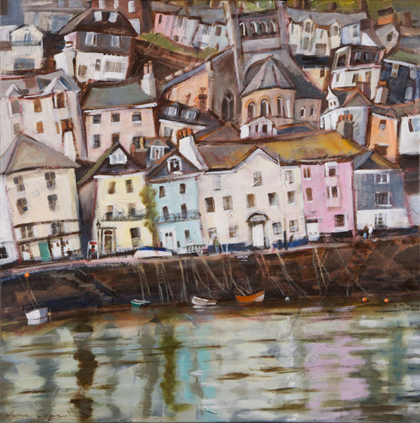 'Bayard's Cove, Dartmouth', oil and mixed media on canvas, 60 x 60cm, framed