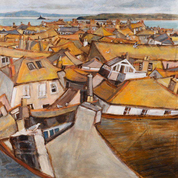 'St Ives across to Godrevy', oil and mixed media on canvas, 90 x 90cm - SOLD