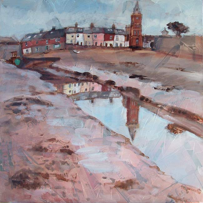 'St Peter's Tower, Lympstone', oil and mixed media on canvas, 60 x 60 cm, framed, SOLD