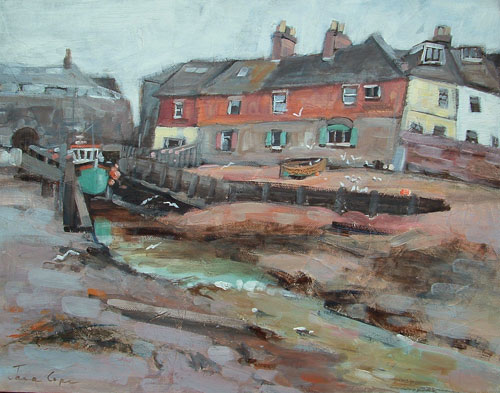Wotton Brook, Lympstone - Oil and mixed media on canvas, 45 x 35 cm, framed, SOLD