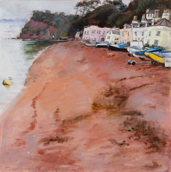 'The Ness, Shaldon', oil and mixed media on canvas, 80 x 80cm, framed, £725