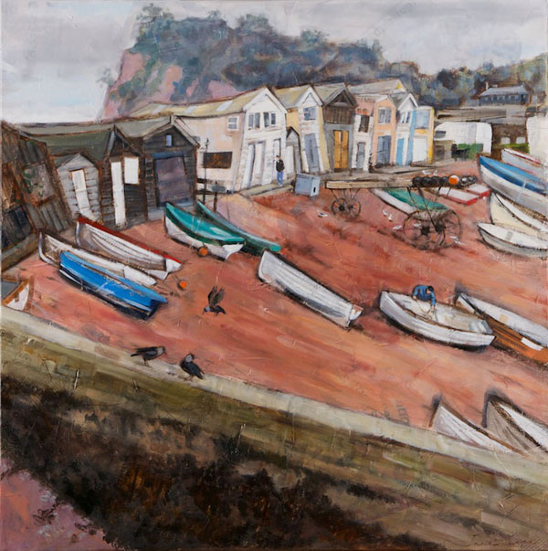 'Back Beach, Teignmouth', oil and mixed media on canvas, 80 x 80cm, framed - SOLD