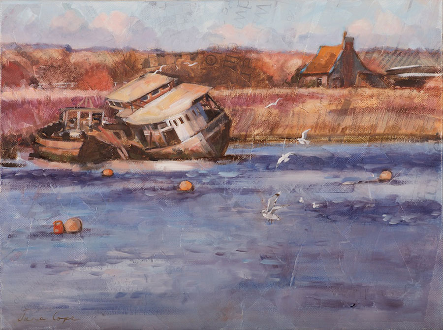 'Lock keeper's cottage, Topsham', oil and mixed media on canvas, 30 x 40 cm, deep edge canvas, SOLD