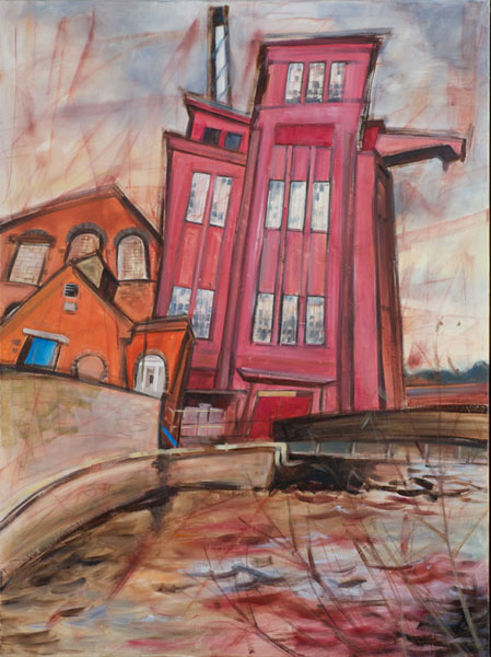 'Silverton Mill, Devon', oil and oil pastel on canvas, 92 x 120cm, framed, £475
