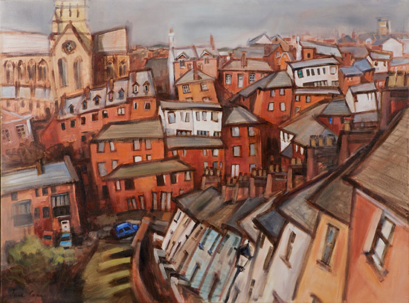 'Across to St David's, Exeter', oil on canvas, 102 x 76cm, framed, £725