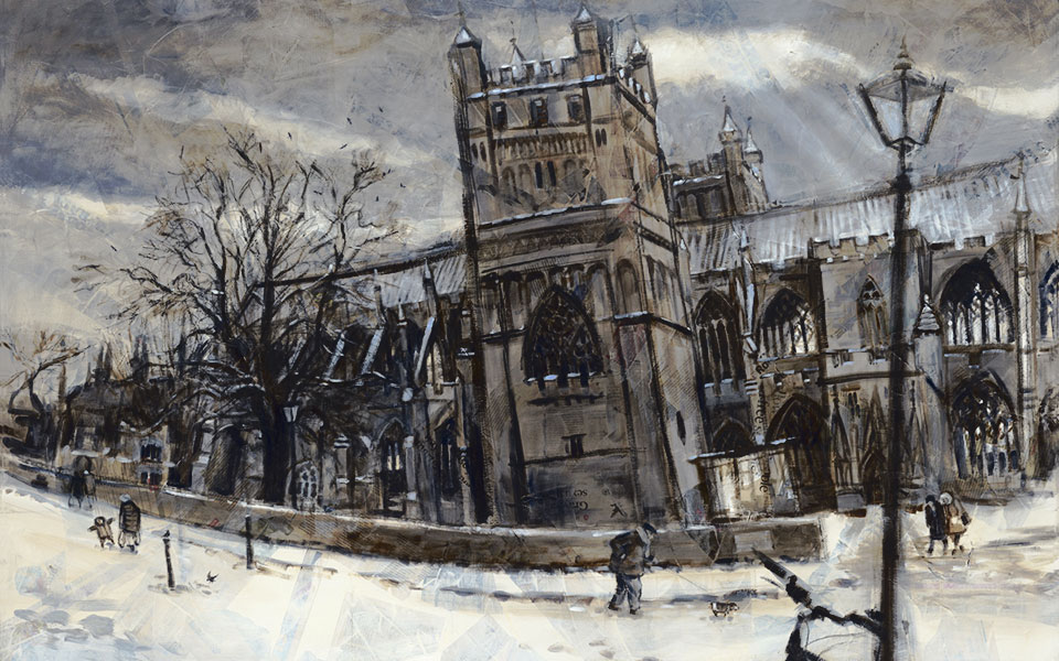 'Walking the dog, Exeter Cathedral', oil and mixed media on canvas, 142 x 112 cm, framed