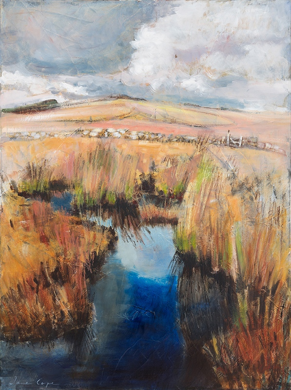 Blue pool, Dartmoor', oil and mixed media on canvas, 60 x 80cm, framed, SOLD