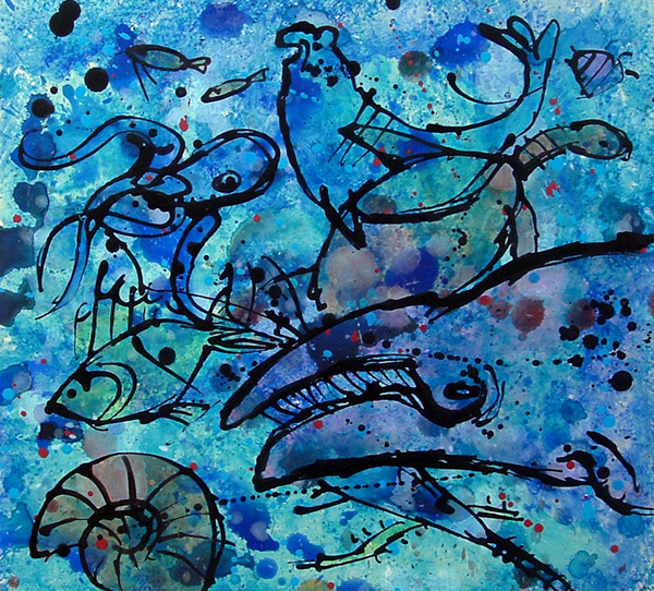 Blue Life - Acrylic ink and gouache on board, 32 x 32cm, SOLD, print available