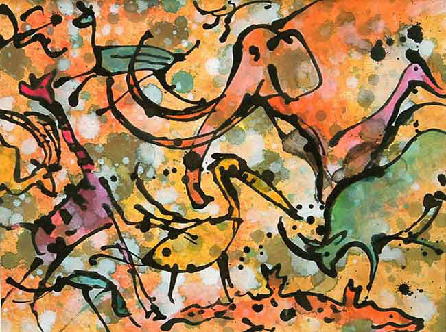 Yellow Elephant - Acrylic ink and gouache on board, 36 x 26cm, SOLD, print available