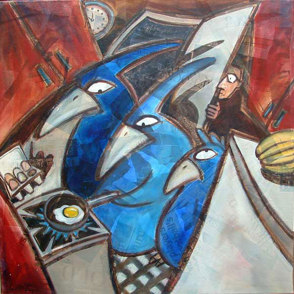 Blue Bird - Oil and mixed media on canvas, 80 x 80cm, framed