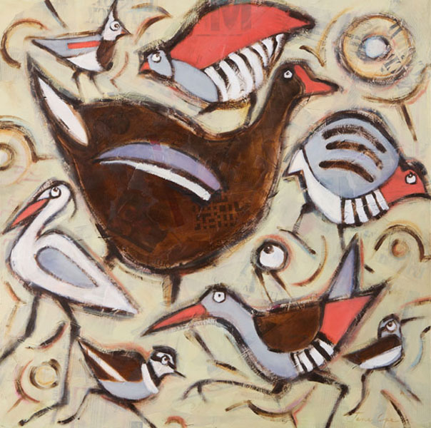 Birds 1 - Oil and mixed media on canvas, 80 x 80cm, SOLD, print available