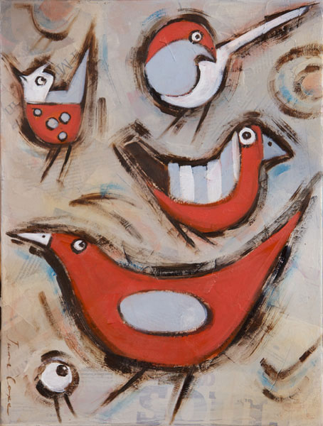 Birds 3 - Oil and mixed media on canvas, 35 x 40cm, framed, SOLD
