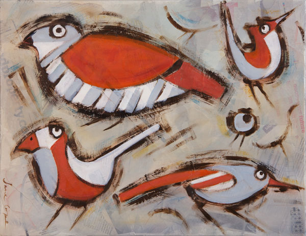 Birds 4 - Oil and mixed media on canvas, 35 x 40cm, framed, SOLD
