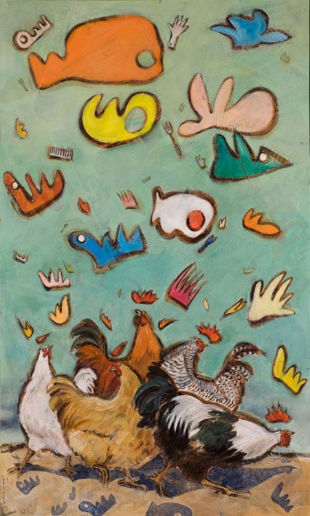 Chickens - Oil and mixed media on canvas, 150 x 40cm - SOLD - print available