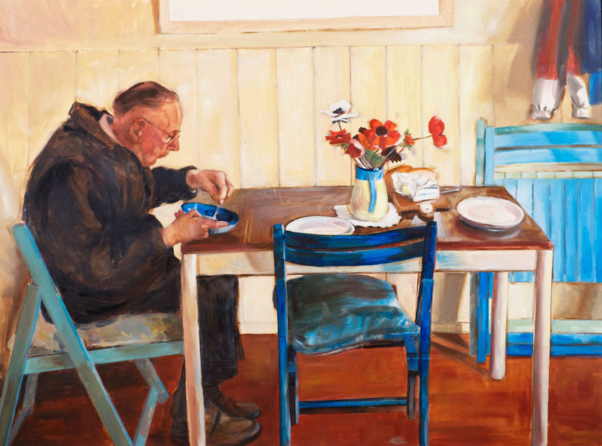 Dad in St Ives - Oil on board - 2010, 103 x 76cm, framed, not for sale