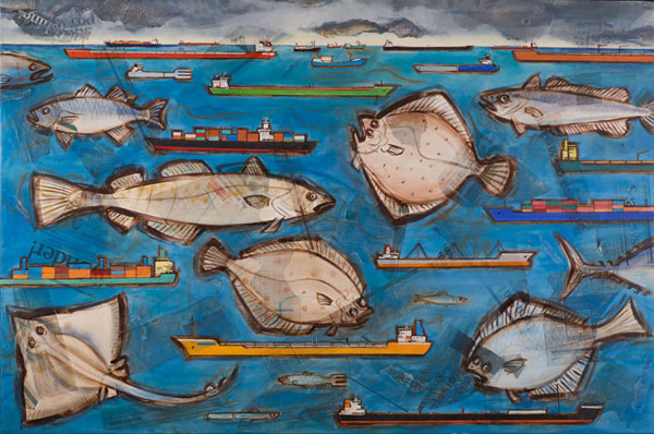 Fish 'n' ships - Oil and mixed media on canvas, 152 x 100cm, framed, print available
