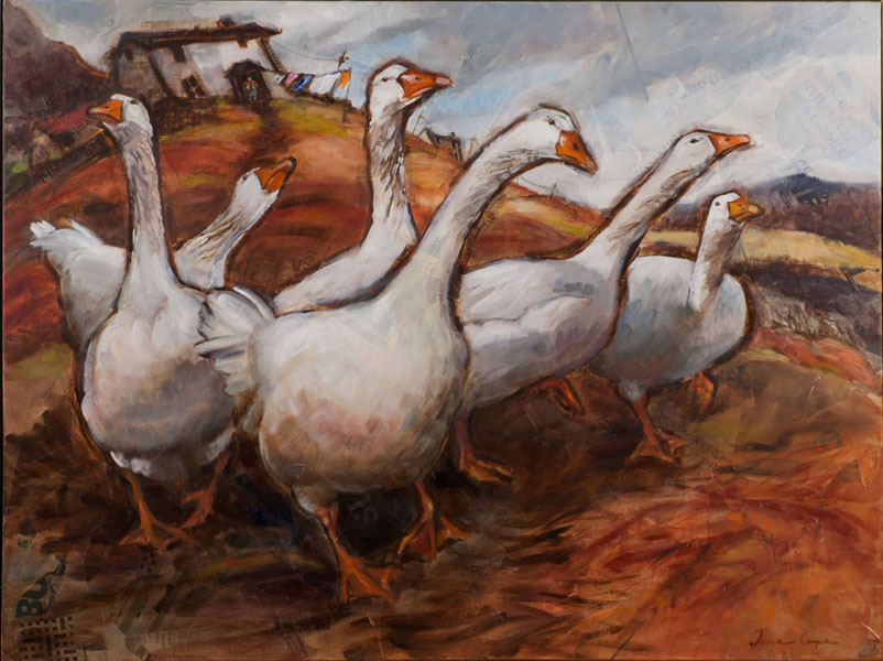 Geese 2 - Oil and mixed media on canvas, 120 x 90cm, SOLD, print available