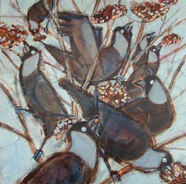 Jackdaws - Oil and mixed media on canvas, 80 x 80 cm, deep edge canvas, SOLD