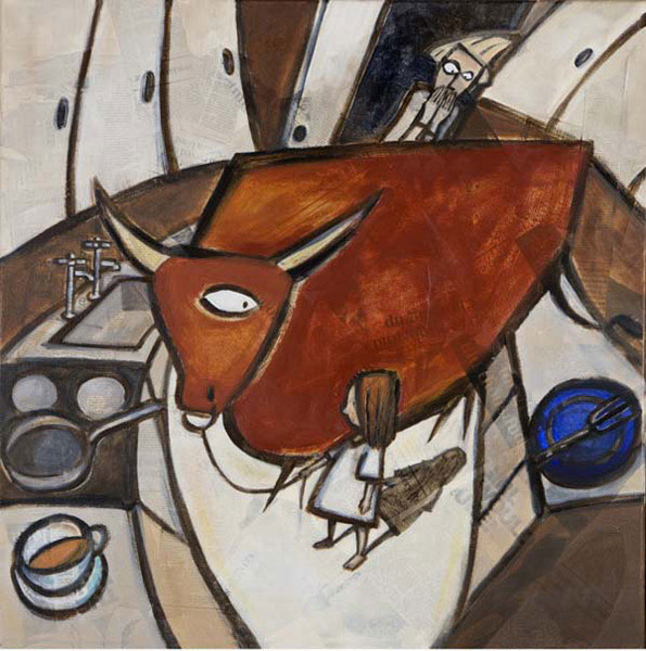Kitchen bull - Oil and mixed media on canvas, 60 x 60cm, SOLD, print available