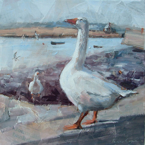 Morning Geese - Oil and mixed media on canvas, 27 x 27 cm, deep edge canvas, SOLD