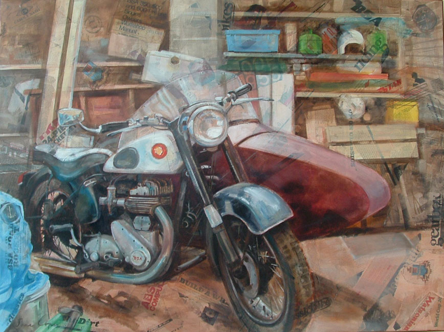 The old BSA - Oil and mixed media on canvas, 120 x 90cm, not for sale