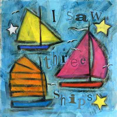 I saw three ships - Oil and mixed media on canvas, 40 x 40 cm