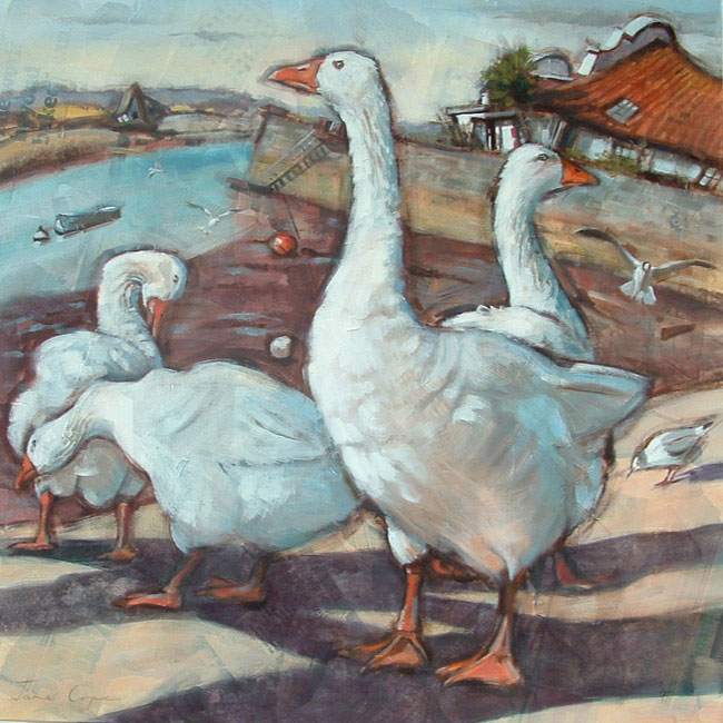 Topsham Geese - Oil and mixed media on canvas, 90 x 90cm, SOLD, deep edge canvas