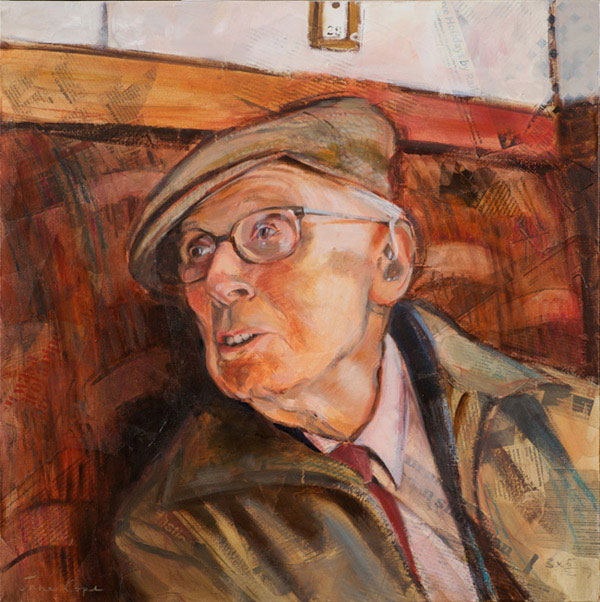 'Dad at 90' - oil and mixed media on canvas, 60 x 60cm