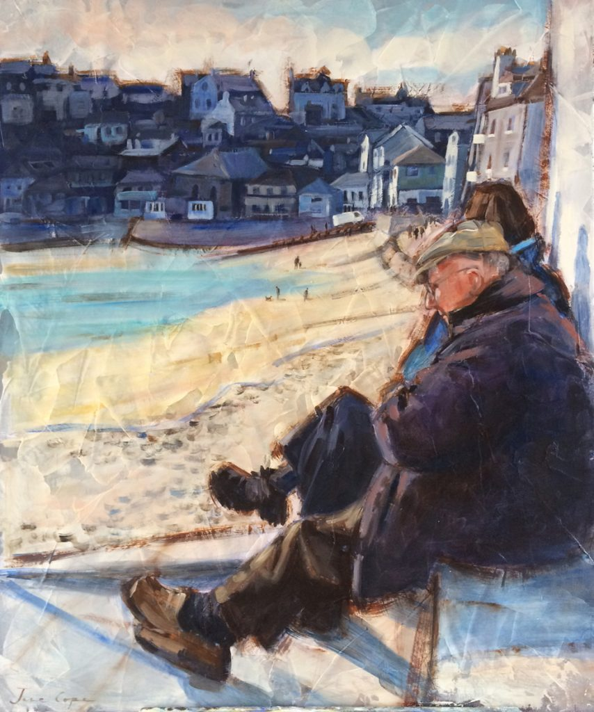 'Dad at St Ives' oil and mixed media on canvas, 50 x 60cm