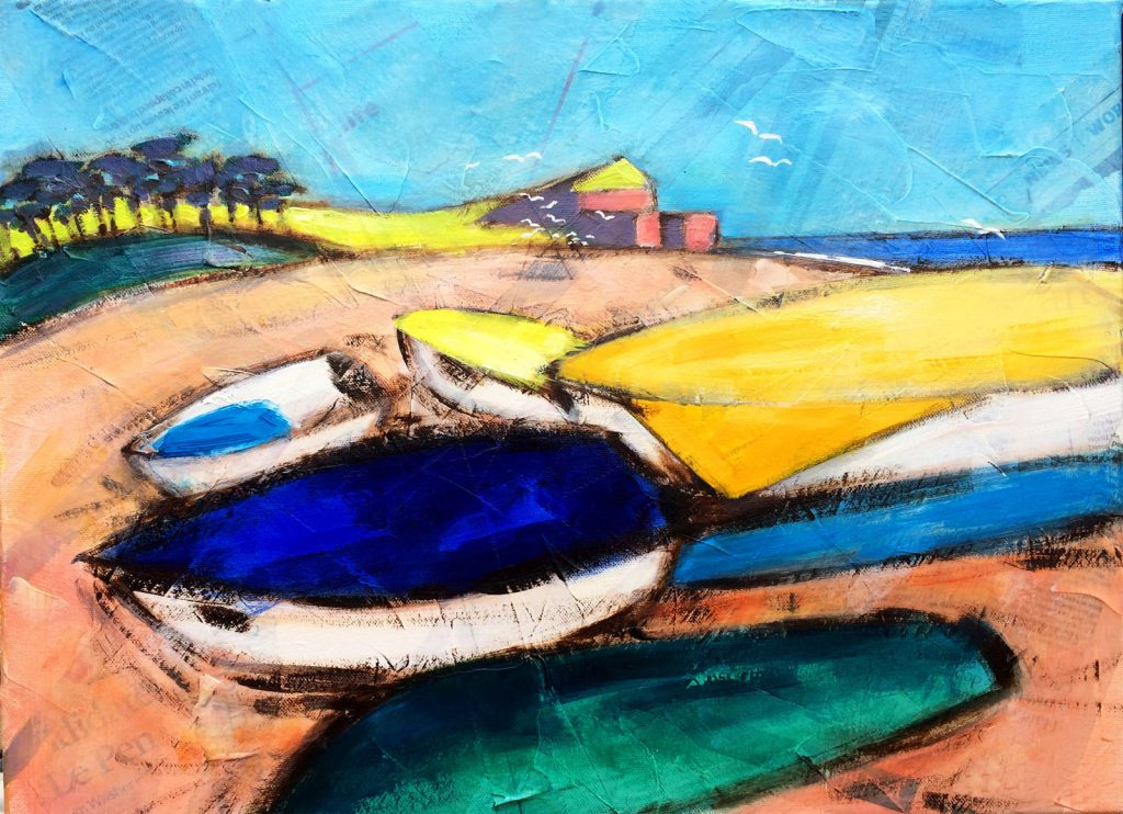 'Otterhead, Budleigh Salterton', oil and mixed media on canvas, 45 x 35 cm, framed, £185