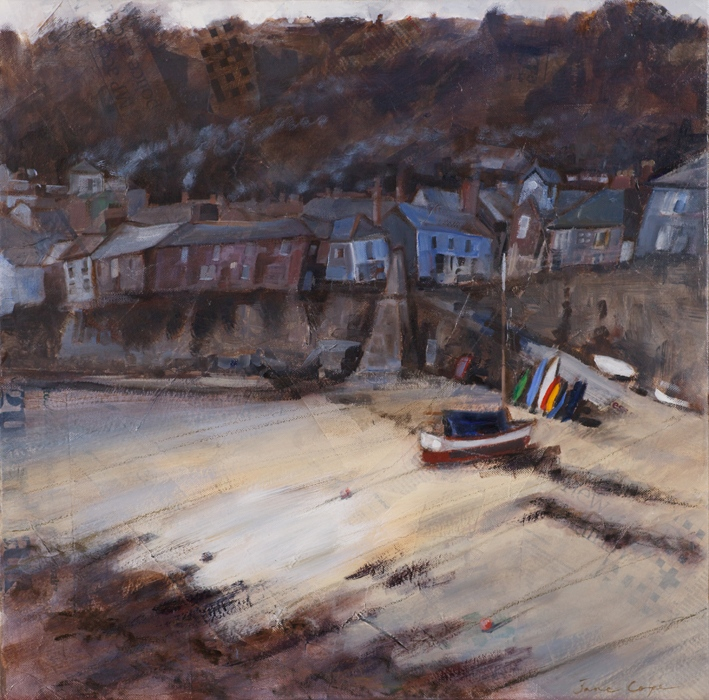 Smoke overMousehole, Cornwall', oil on canvas, 40 x 40cm SOLD